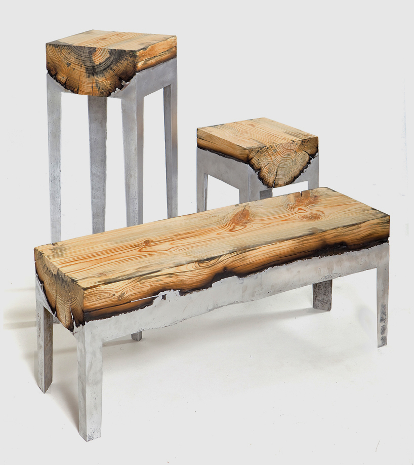 Molten Aluminum and Charred Wood Furniture ...